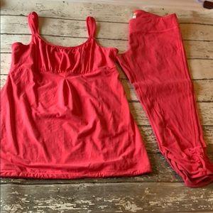 Lucy Athletic Workout Tank Capri Crop Pants Large